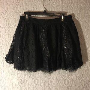 Alice + Olivia Black Lace Shimmer Skirt
